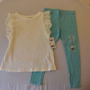 Girls Cream Short Sleeve shirt with teal leggings